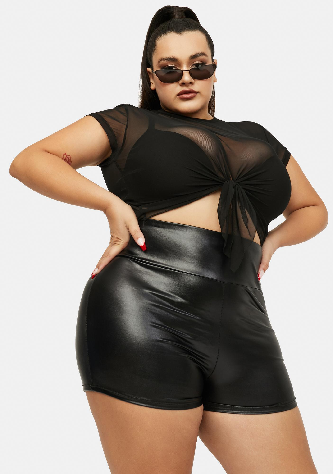 Forever Top Notch Vegan Leather High Waist Biker Shorts