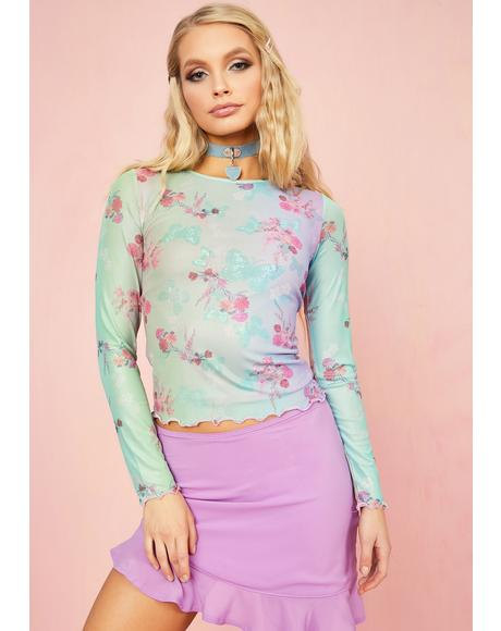 Pixie Spritzer Butterfly Mesh Top