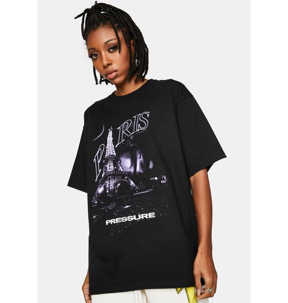 Pressure Clothes Black Paris Graphic Tee
