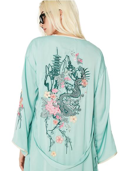 Dragon Blossom Embroidered Robe