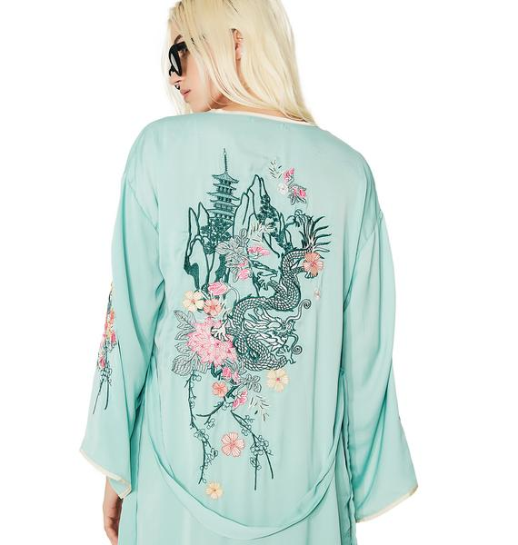 Glamorous Dragon Blossom Embroidered Robe