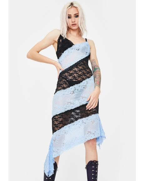Blue Patchwork Lace Slip Dress