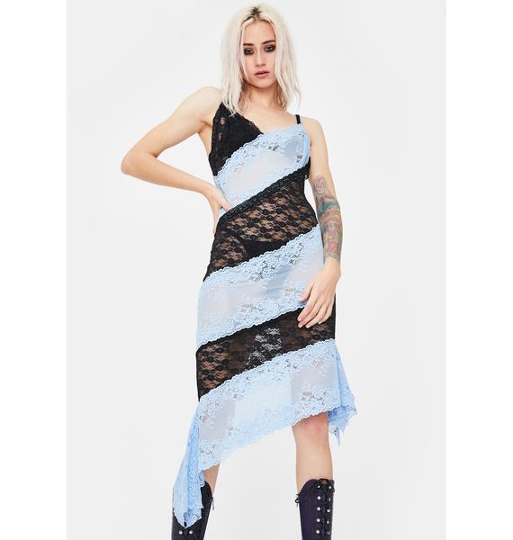 No Dress Blue Patchwork Lace Slip Dress