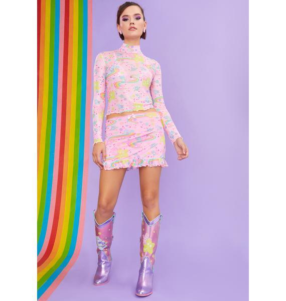 Dolls Kill x Care Bears Rainbow Ride Mesh Long Sleeve Top