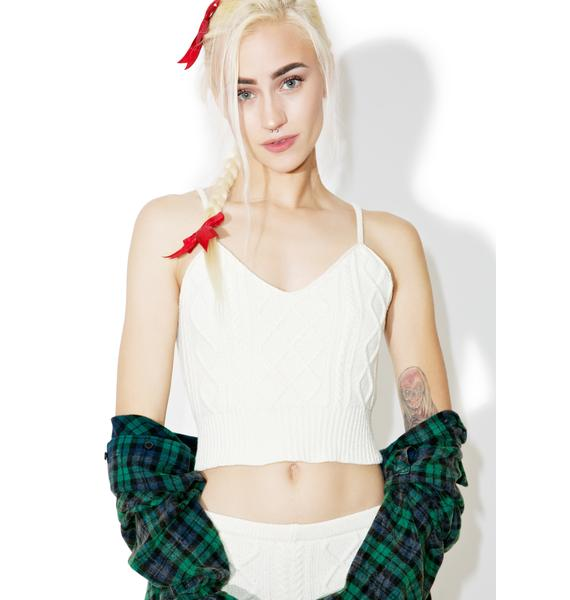 Knitty Kitty Let's Get Intimate Cable Crop Top
