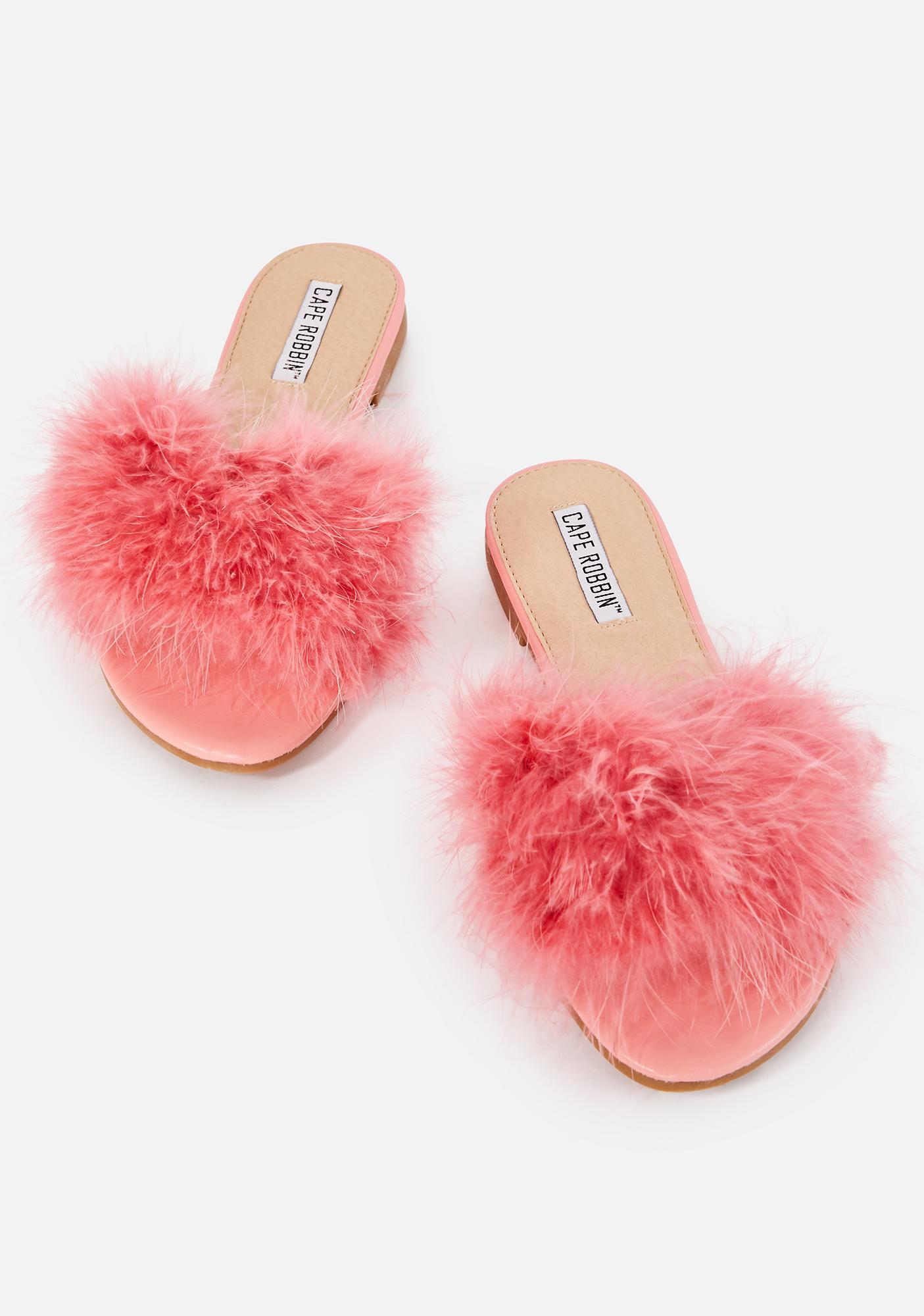 Fluffy Slide Sandal - Pink   Dolls Kill