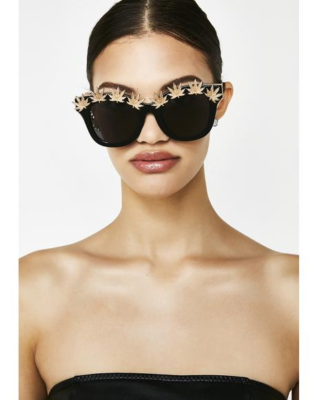 Onyx Weed Leaf Embellished Sunglasses