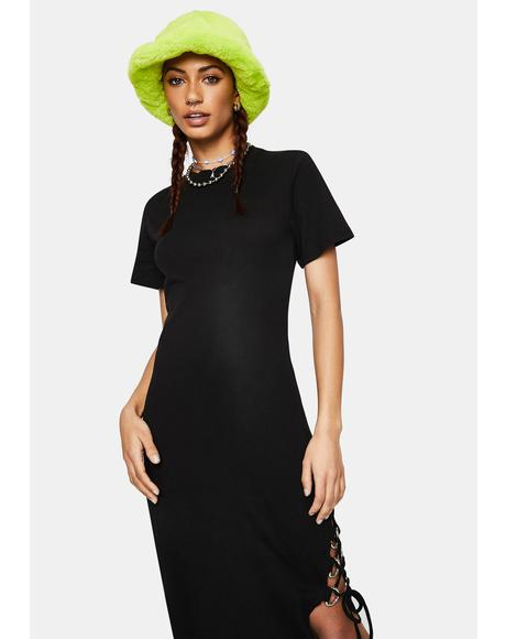 Provoke Lace-Up Midi Dress