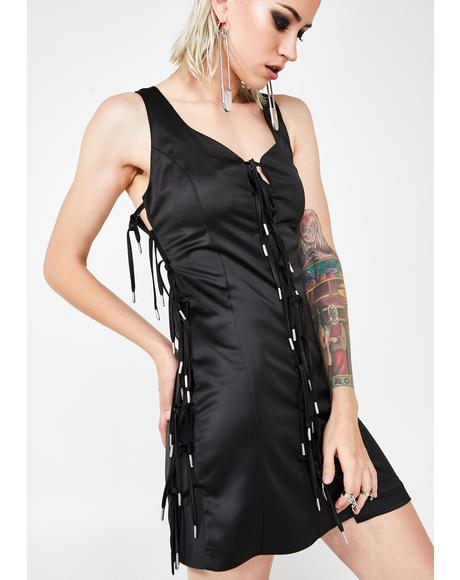 Expando Tie Satin Dress
