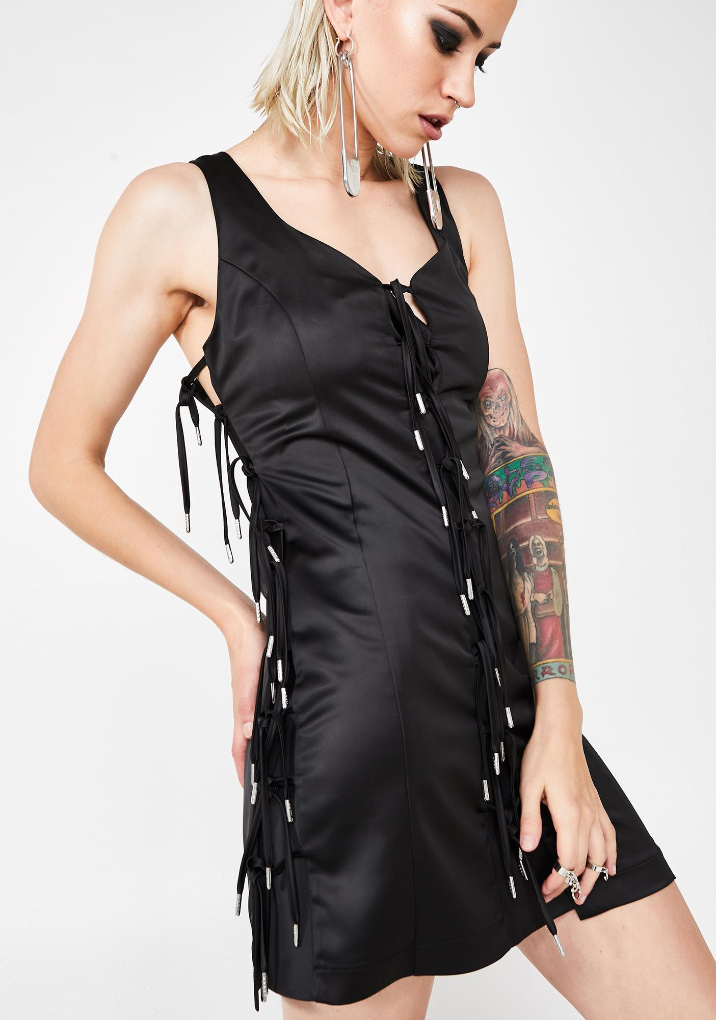 Hanger Expando Tie Satin Dress