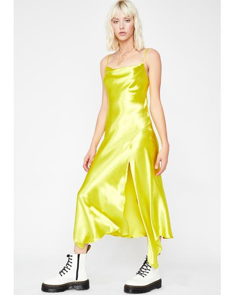 Lime Rumor Has It Midi Dress