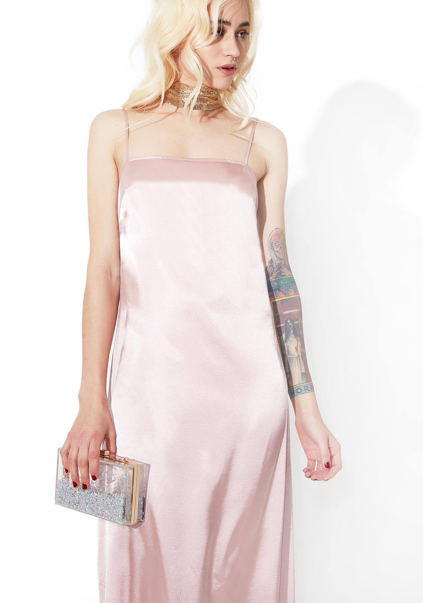 Blush Temptress Satiny Maxi Dress