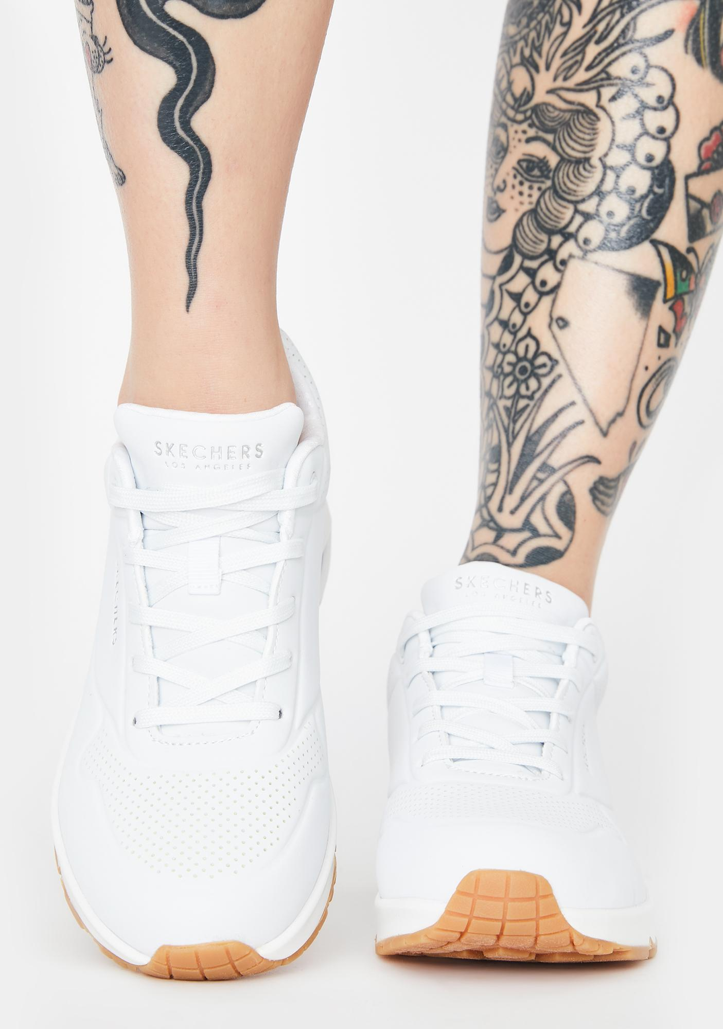 Skechers White Stand On Air Uno Sneakers