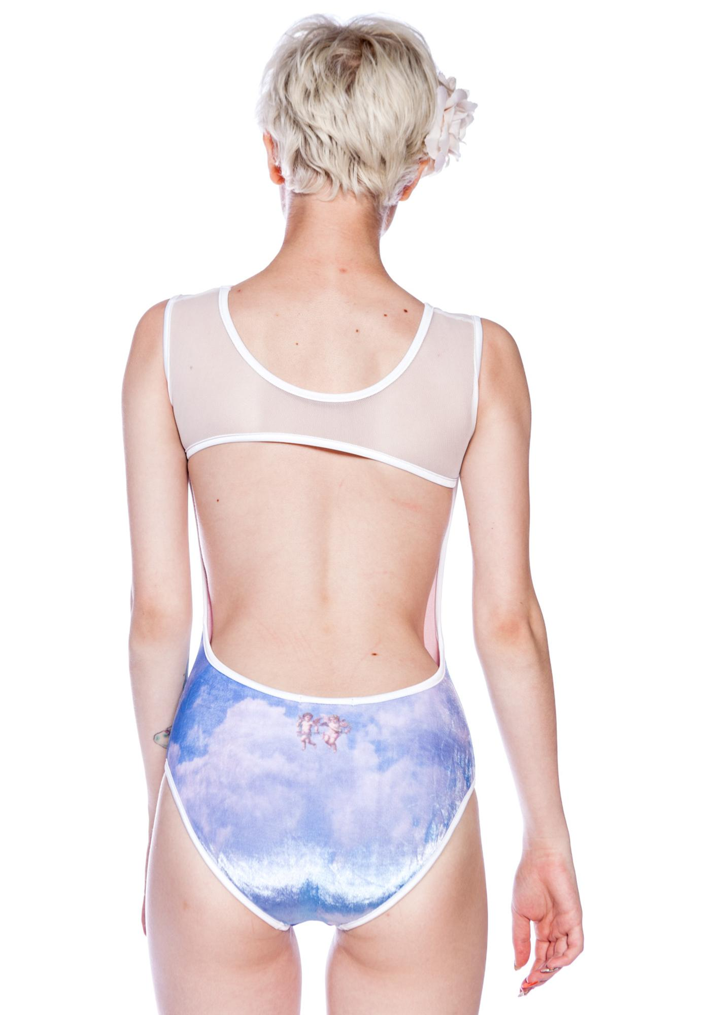 Wildfox Couture Cupid Cloudy Sky Bodysuit