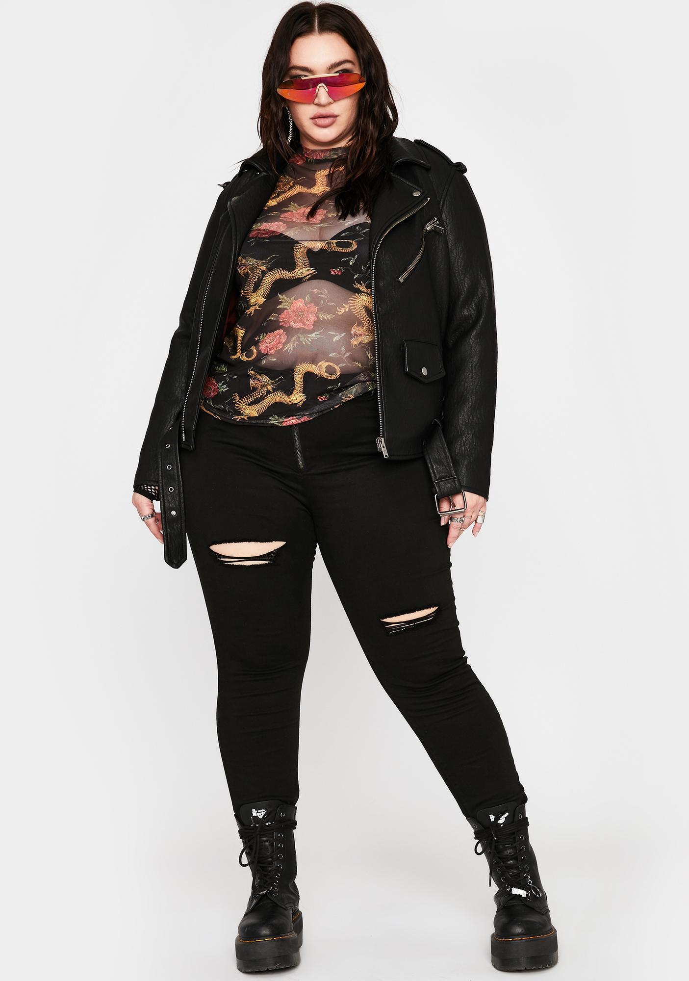 NEW GIRL ORDER Plus Dragon Mesh Top