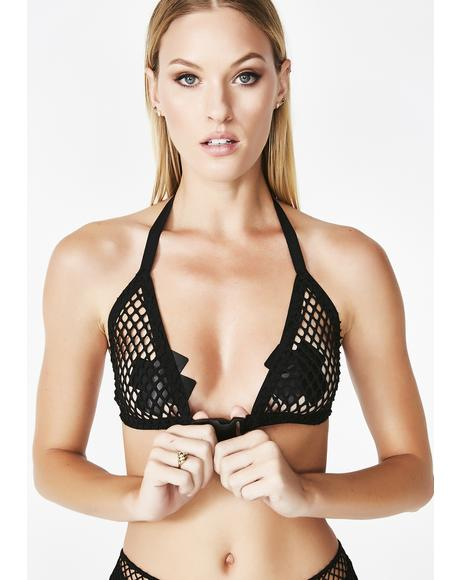 Fishnet Buckle Bralette