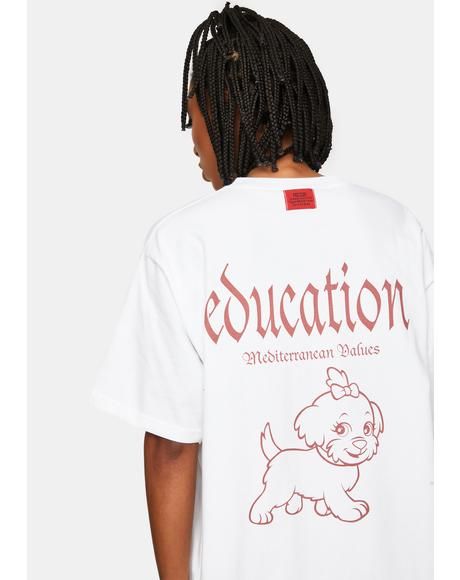 White Education Graphic Tee