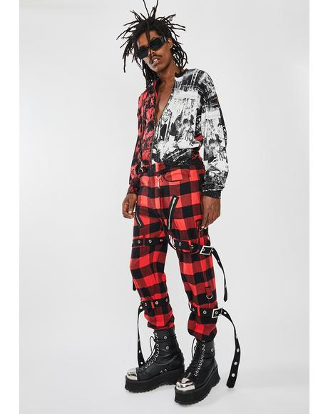 Red Plaid Buckle Punk Trousers