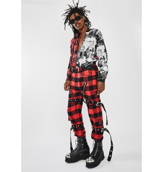 Jaded London Red Plaid Buckle Punk Trousers