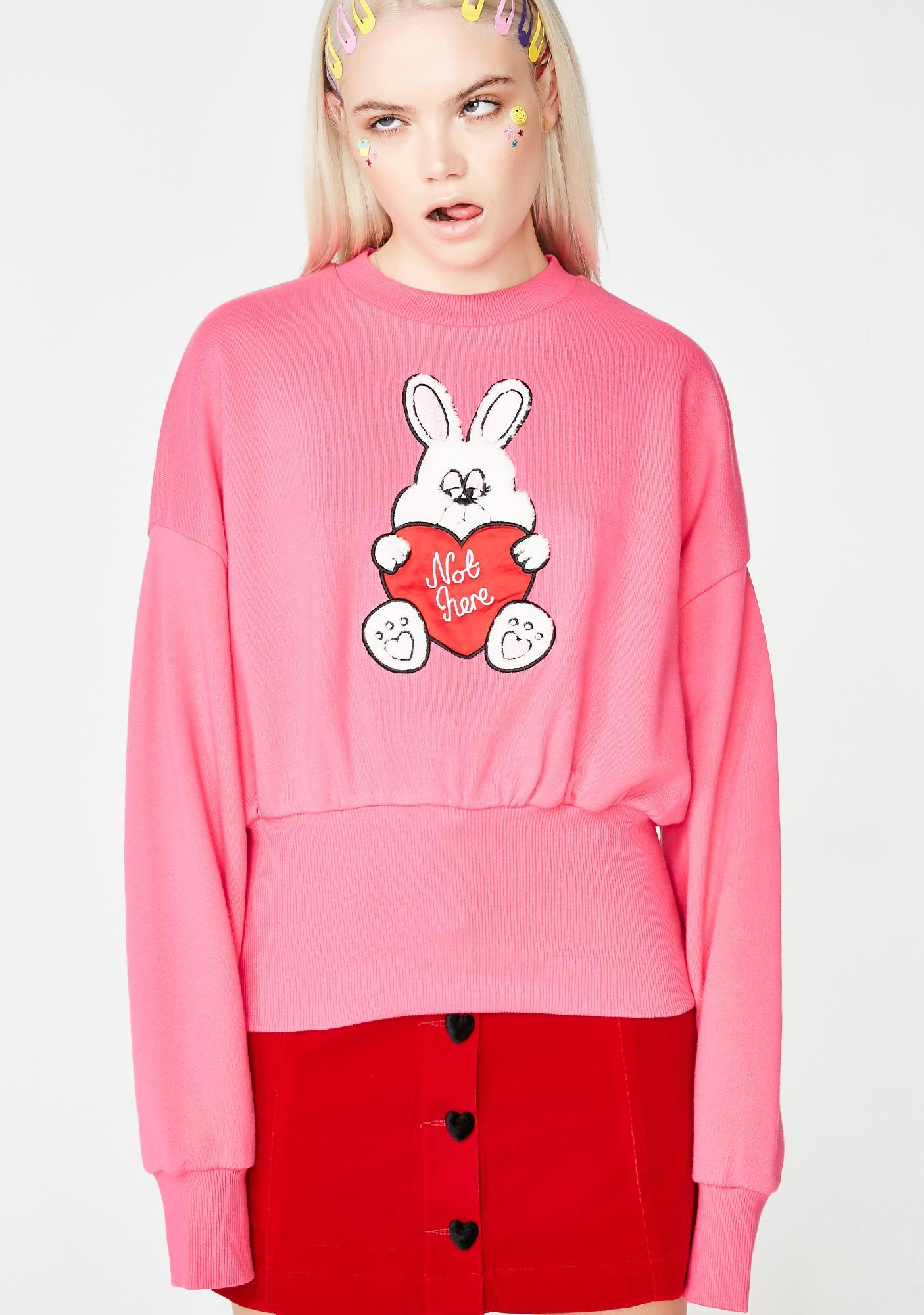 7ef89e27af9 Lazy Oaf Not Here Bunny Sweatshirt