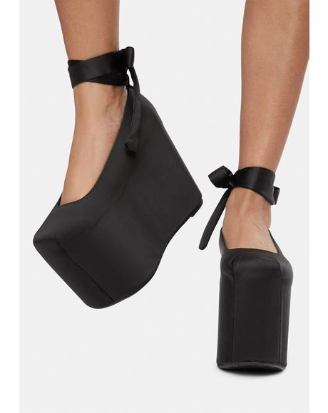 Bae Black Satin Platforms