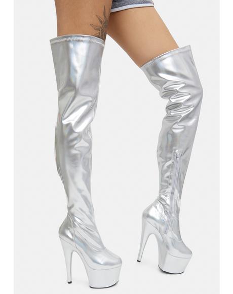Silver Club Strut Thigh High Boots