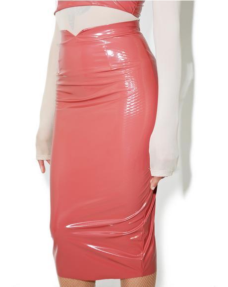 Video Girl Vinyl Midi Skirt