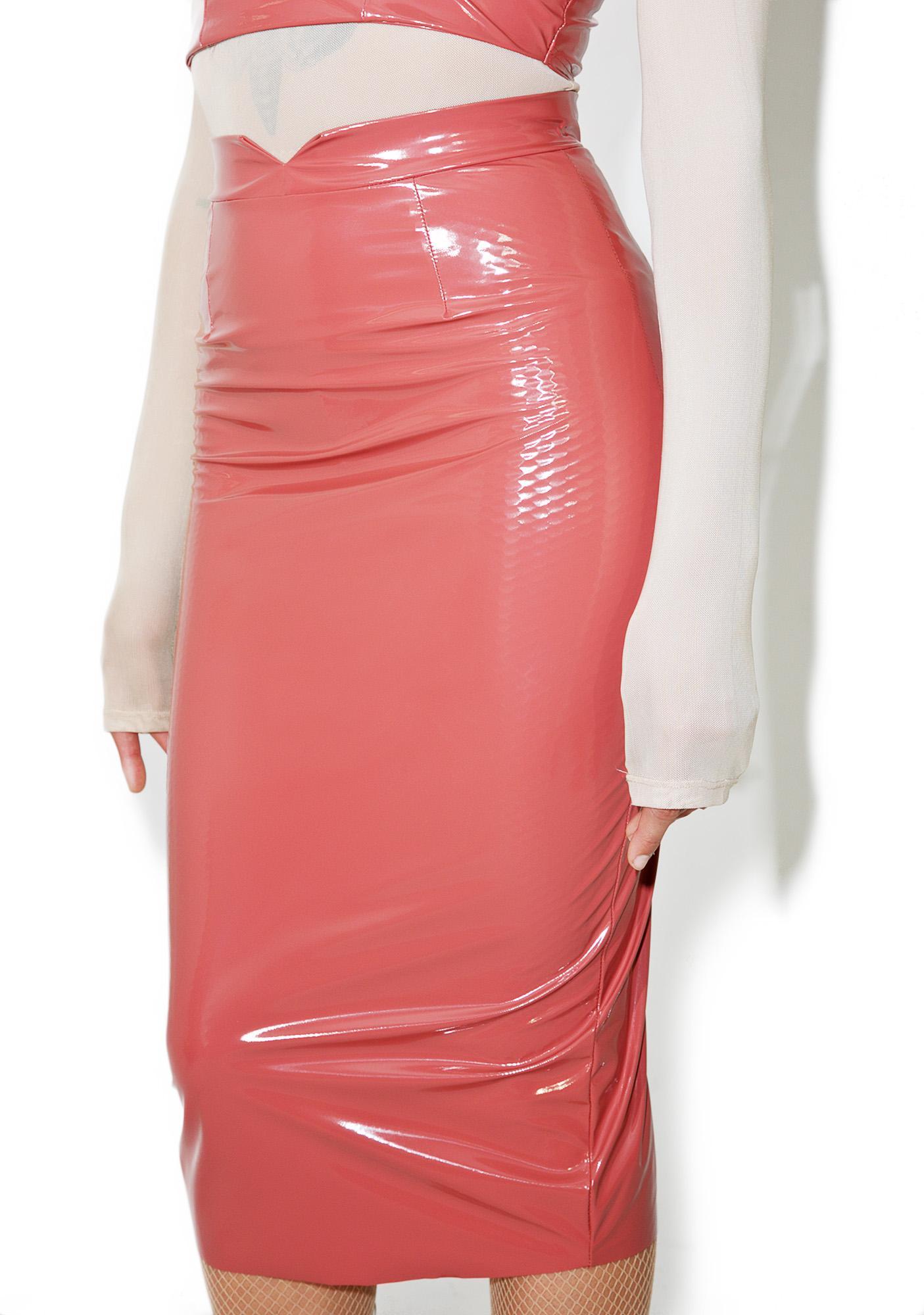 31f0e305aa Red Wet Look Pencil Skirt | Dolls Kill