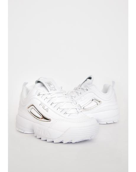 Silver Disruptor 2 Metallic Accent Sneakers