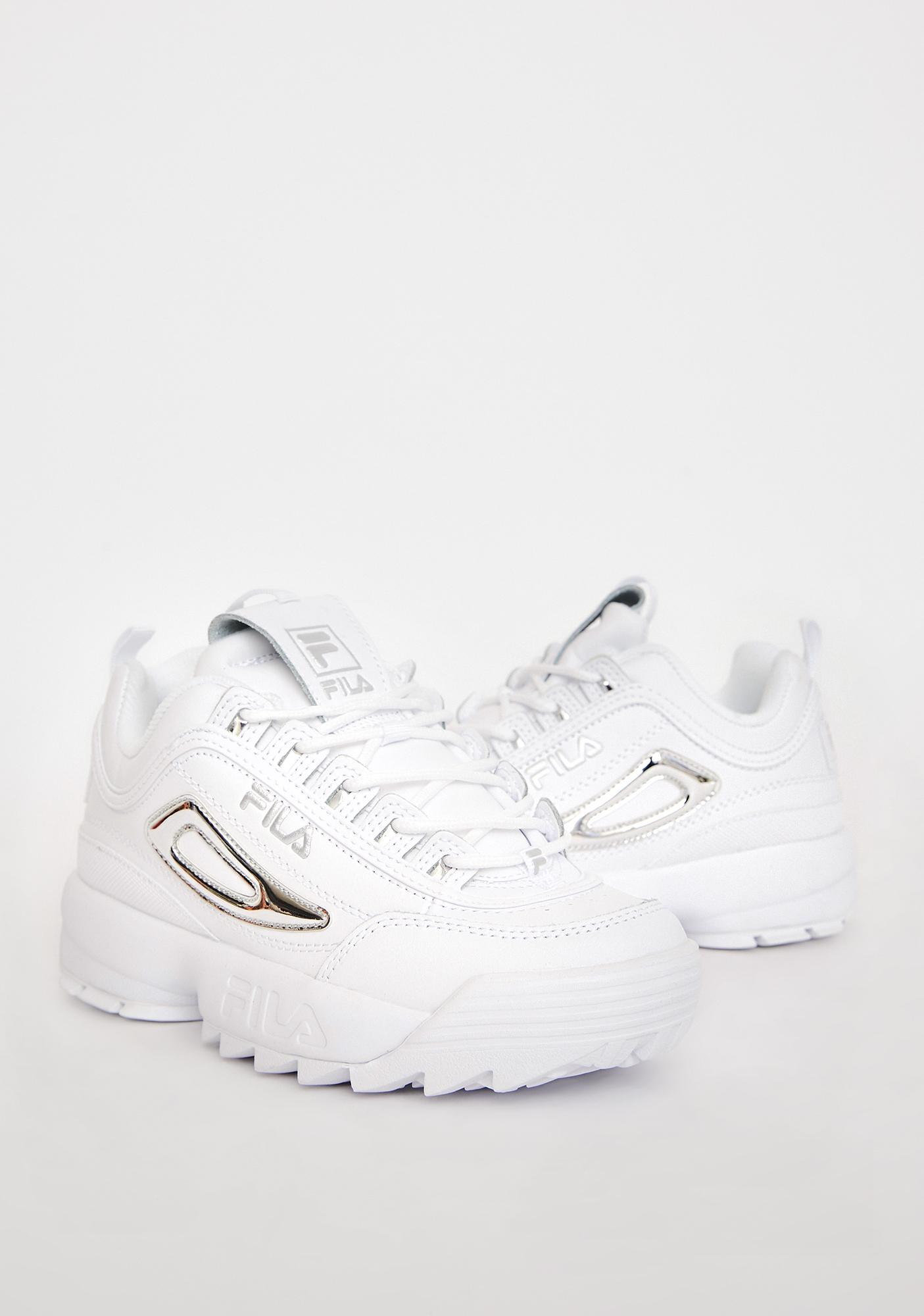 Fila Silver Disruptor 2 Metallic Accent Sneakers