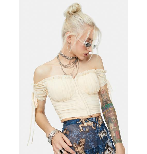 Bliss Quite The Night Mesh Off Shoulder Crop Top