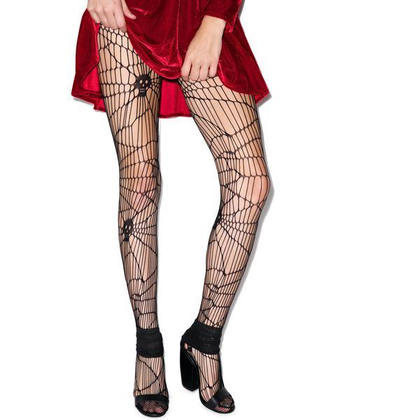 Scary Skull Web Net Pantyhose