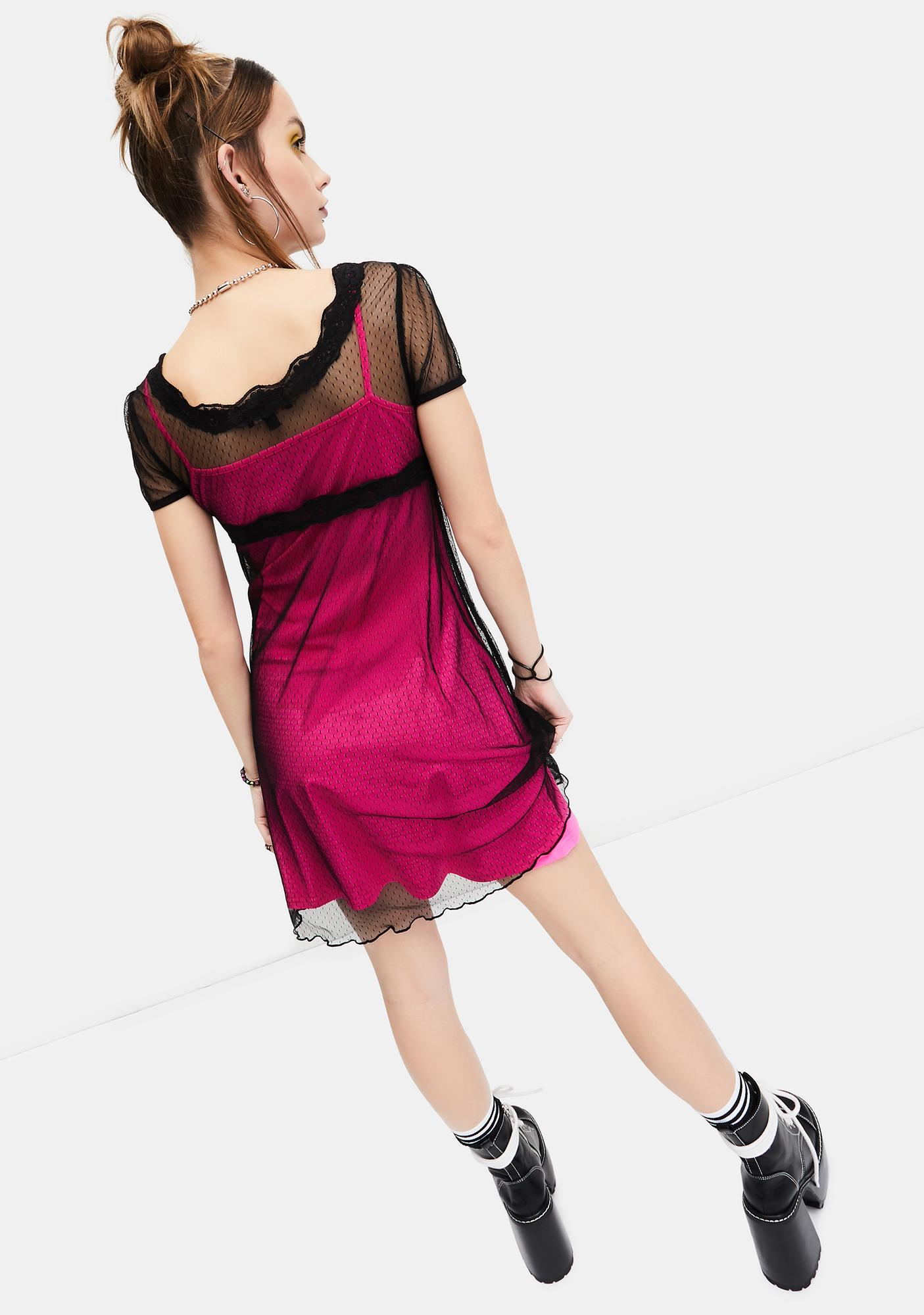 dELiA*s by Dolls Kill New Perspective Mesh Overlay Dress