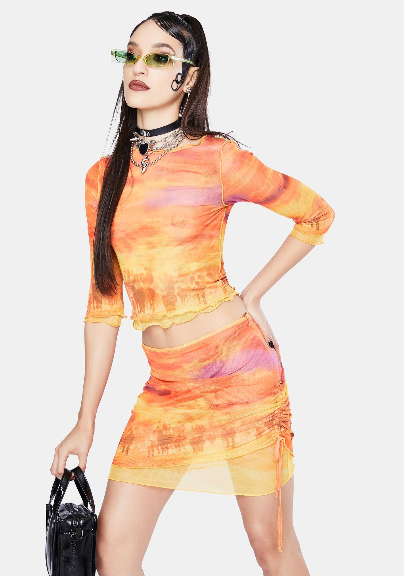 Jaded London Horse Landscape Print Layered Mesh Skirt