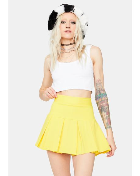 Lemon Wicked Scholar Pleated Mini Skirt