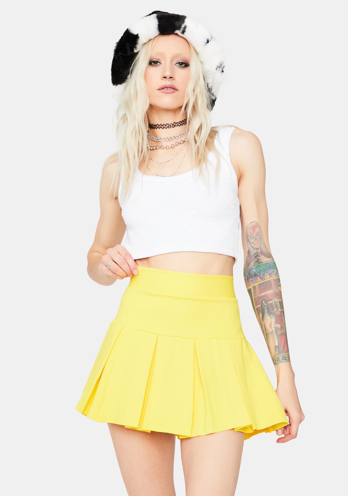 Lemon Wicked Scholar Pleated Mini Skirt
