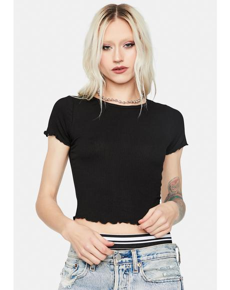 Girl Of Glory Lettuce Edge Crop Tee
