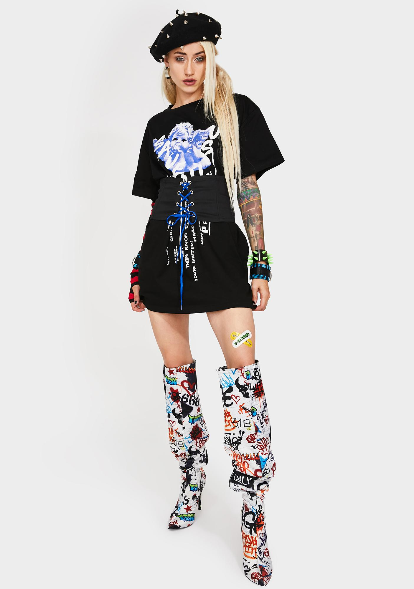 Current Mood Save Yourself Corset T-Shirt Dress