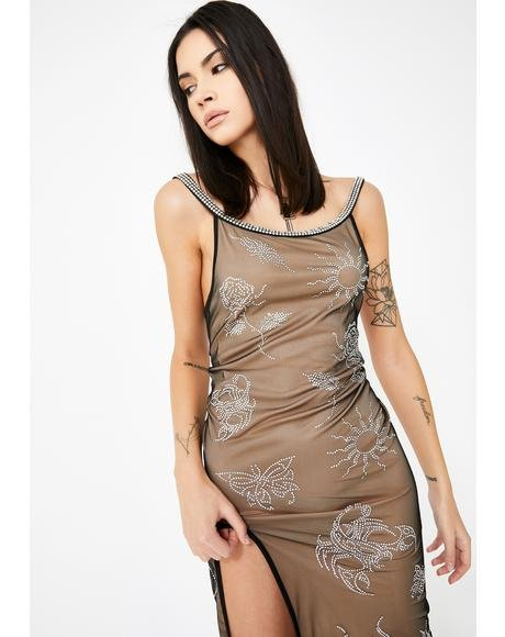Mesh Cami Dress With Diamante Tattoo Detail