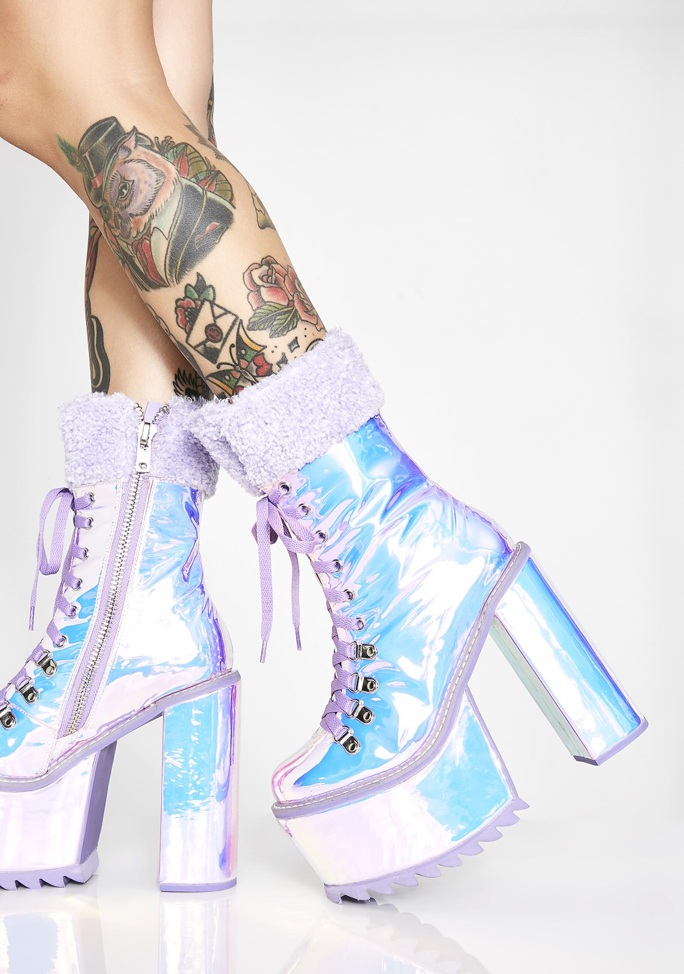 Club Exx Frosted Fairyland Platform Boots