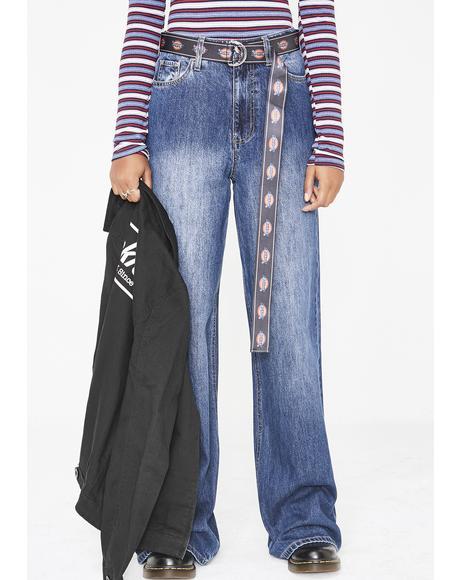 Belted Wide Leg Skater Jeans