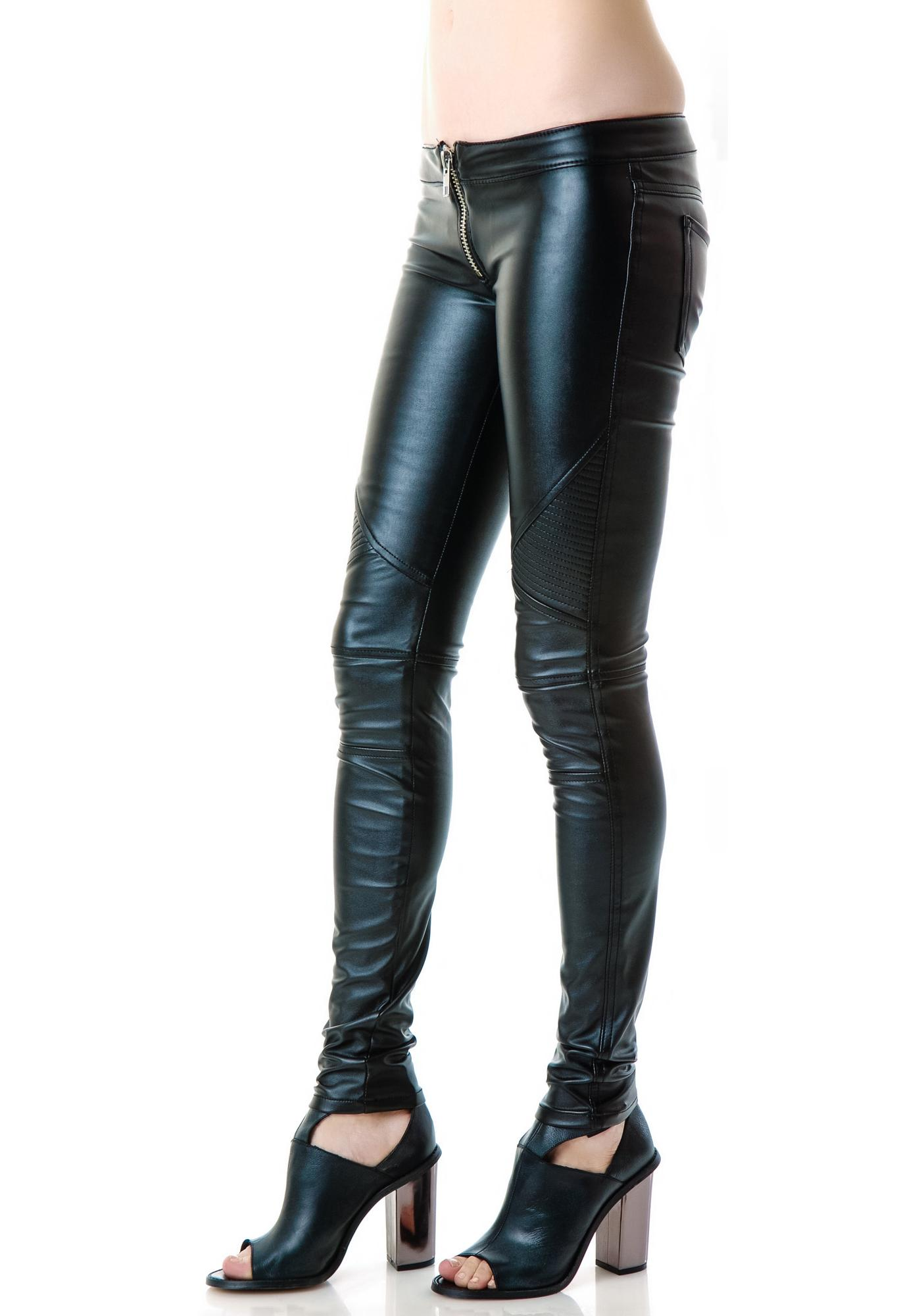 Frankie B Mad Moto Leatherette Leggings