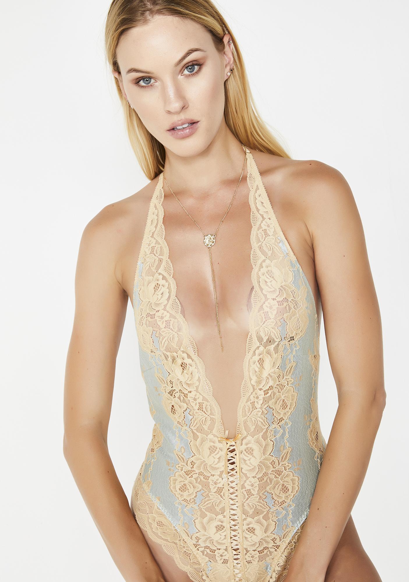 40daab6089 Antique Venetian Lace Teddy Bodysuit Blue