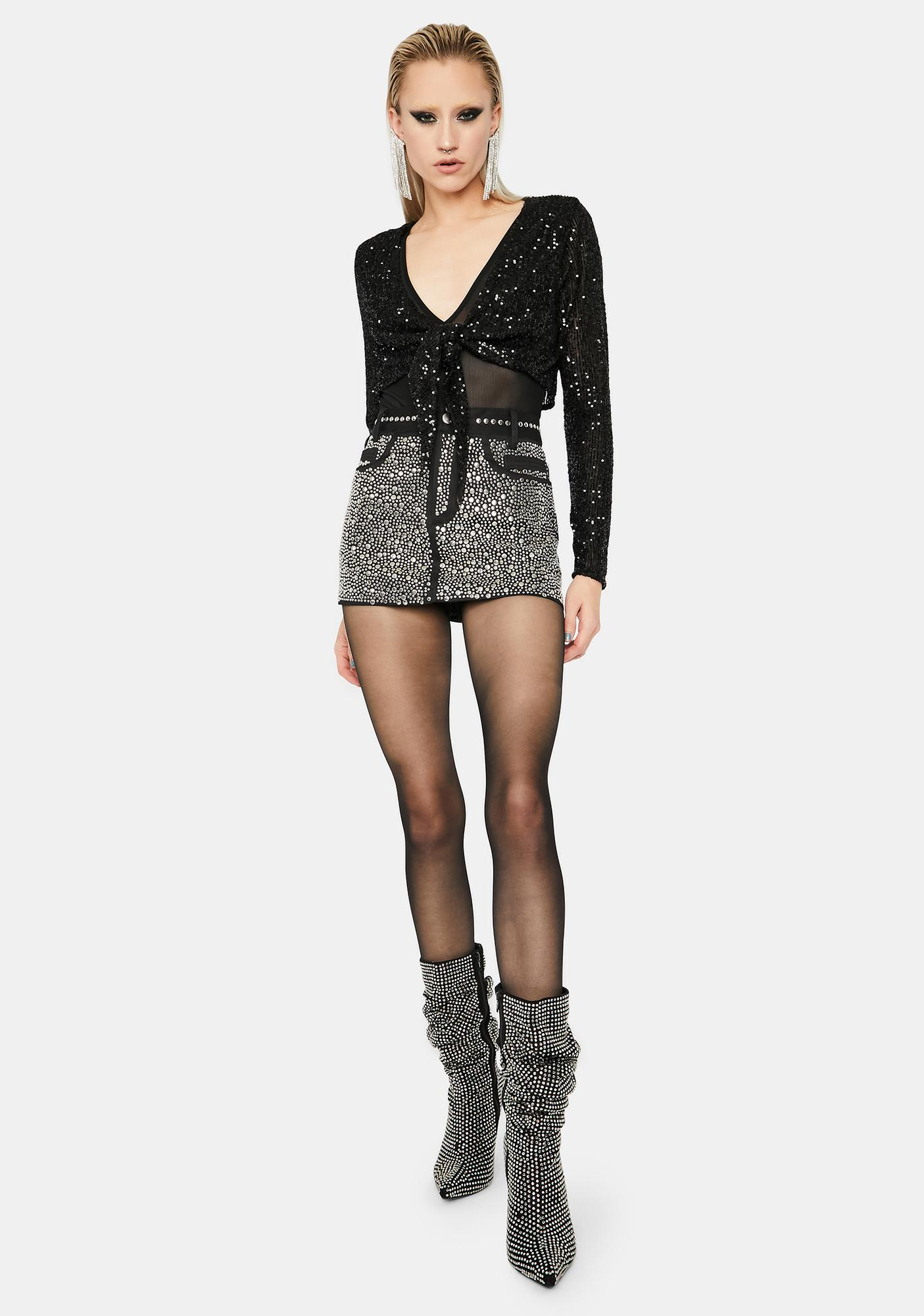 Glam Moment Sequin Top And Mesh Bodysuit Set