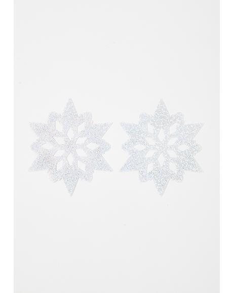 Snow White Glitter Snowflake Pasties