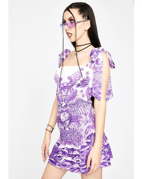 Lilac Tattoo Shirred Mini Dress