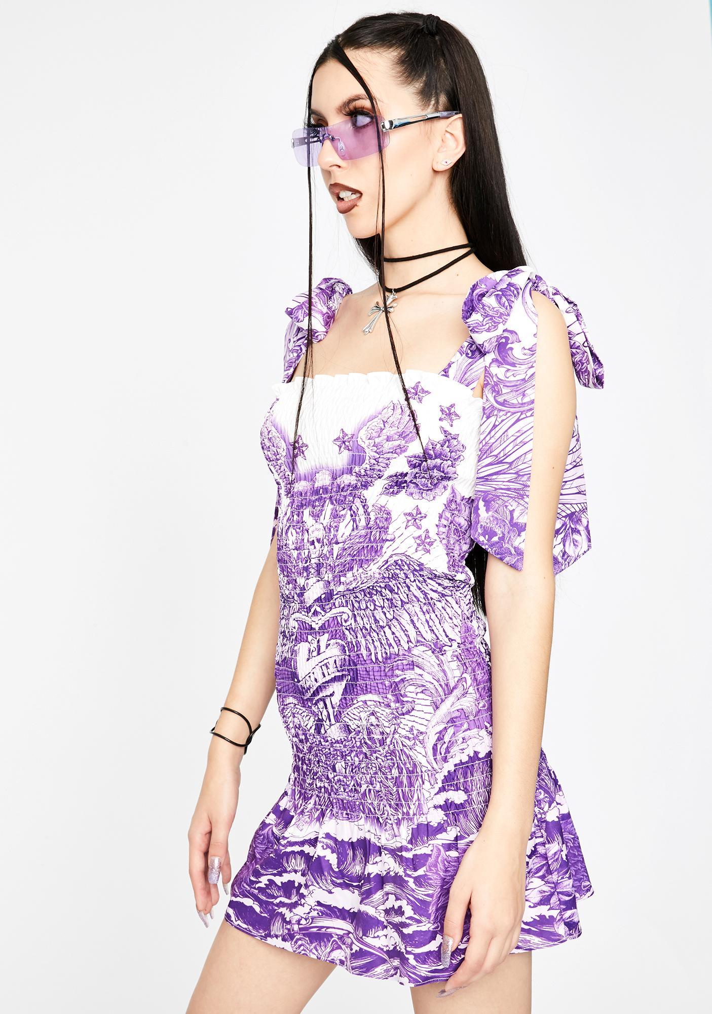 Jaded London Lilac Tattoo Shirred Mini Dress