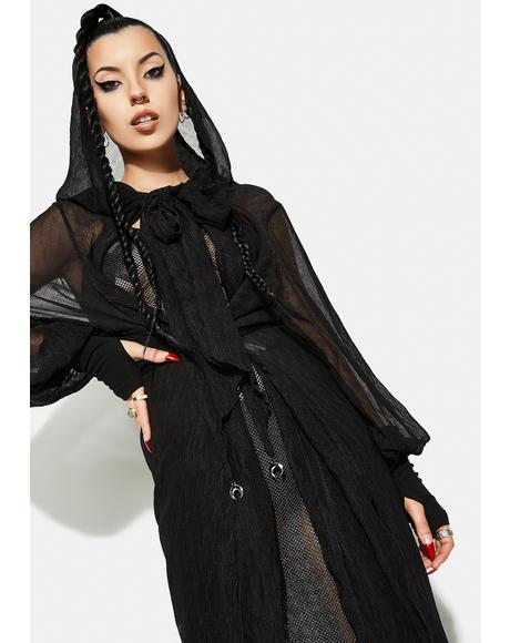 Long Pleated Chiffon Coat