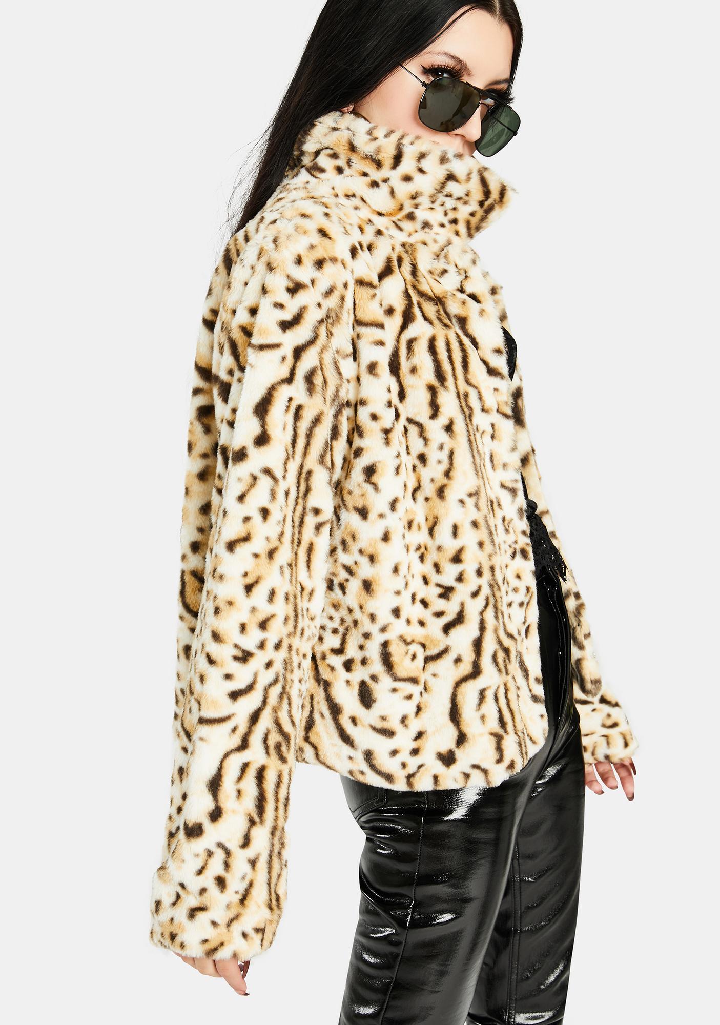 Bailey Rose Leopard Faux Fur Jacket