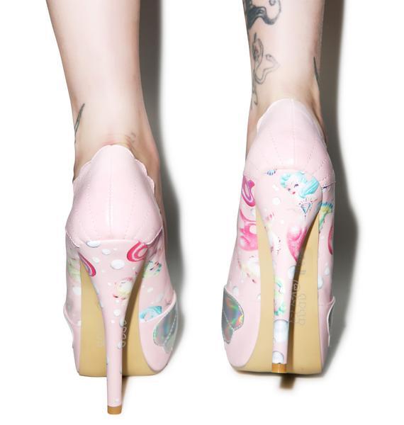 Iron Fist Lollipop Lorelei Shell Peep Toe Platform Heels